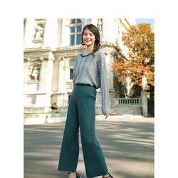 Комплект из двух предметов, Свободный Повседневный Топ с круглым вырезом и брюки с высокой талией и широкими штанинами, весна-осень 2020 г., 2 ш...