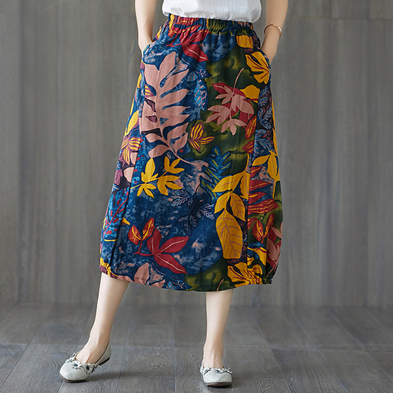 Summer Skirt Cotton Linen Vintage Print Skirts Womens Midi Clothes Loose Casual A-Line Jupe Femme Faldas Mujer Moda 2019