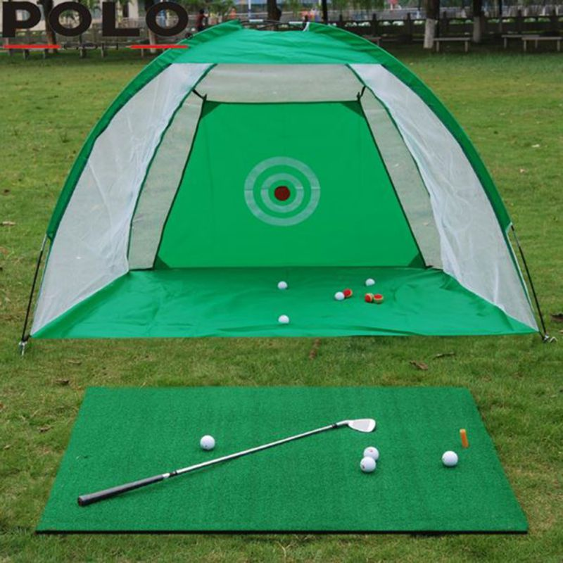 Indoor Golf Practice Net Swing Exerciser 2m Golf Cage Swing Trainer Pad Set Indoor Golf Ball Practice Net Swing Net Fight Cag