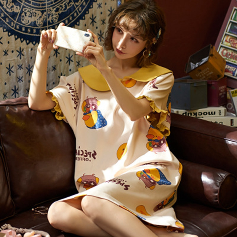 Plus Size Kawaii Pajamas Dress Women Peter Pan Collar   Sleepshirts   Girl Summer   Nightgowns   Cartoon Pajama Party Dress Sleepwear XL
