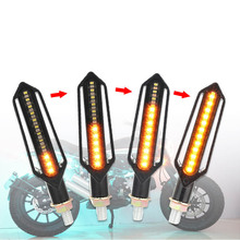 4PCS Motorcycle Turn Signals 4E Mark LED Flowing Water Flashing Lights Stop Tail Flasher/Running Blinker DRL