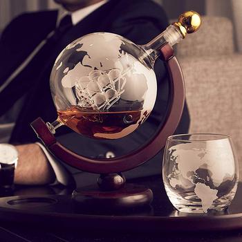 Kreatywne szkło Whiskey wino szklana butelka na wino zestaw do wina rzemiosło Globe pojemnik na wino zestaw Home Decoration czerwony karafka do wina Sake Set tanie i dobre opinie Z-NING CN (pochodzenie) Ekologiczne 4324 Zestawy barowe Borosilicate glass + pine Wine bottle + wine glass European Qualified product