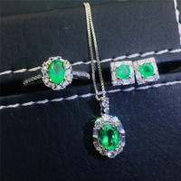 jewelry 925 sterling silver Natural Emerald Necklace Ring Earring Set Support Test