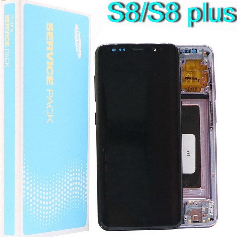الأصلي شاشات lcd لسامسونج غالاكسي S8 شاشة الكريستال السائل S8 زائد G950 G950F G955fd G955F G955 مع الميت بكسل مع شاشة تعمل باللمس رقمنة