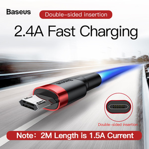 Micro USB кабель для быстрой зарядки Baseus, двусторонний кабель для передачи данных для Xiaomi Redmi 0,5 м, 1 м, 2 м, 3 м