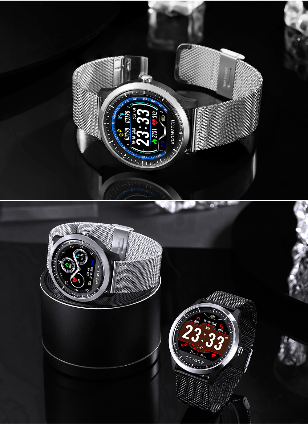 LEMFO N58 PPG + ECG Smartwatch Men IP67 Waterproof Heart Rate Monitor Blood Pressure Wristwatch Strap Replaceable For The Aged