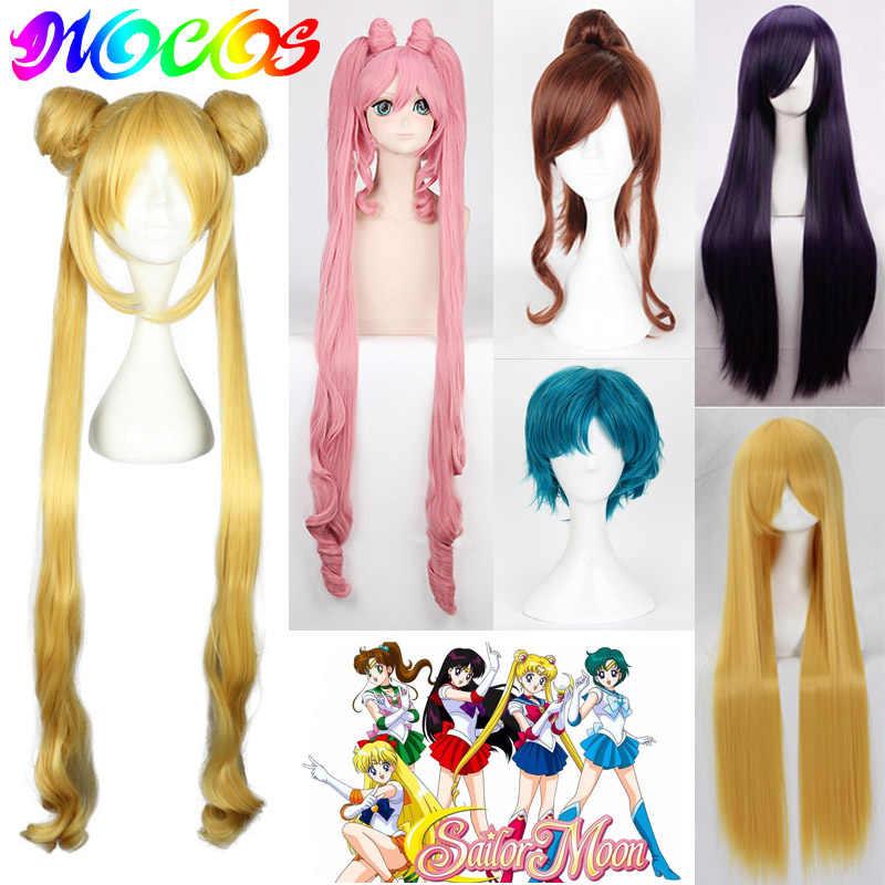 DIOCOS Sailor Moon Mercury Mars Jupiter Venus Uranus Neptun Pluto Saturn Chibi Usa Cosplay Perücken für Halloween Party