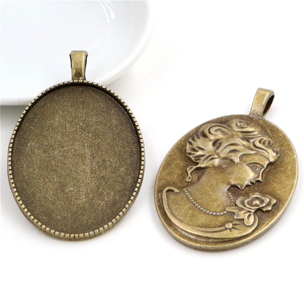 New Fashion  5pcs 30x40mm Inner Size Antique Bronze Classic Style Cabochon Base Setting Charms Pendant (B2-01)