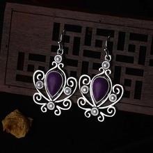 Женские маленькие висячие серьги в виде цветка, Синтетический фиолетовый камень, висячие серьги, винтажные индийские ювелирные изделия, античное серебро, DBE037