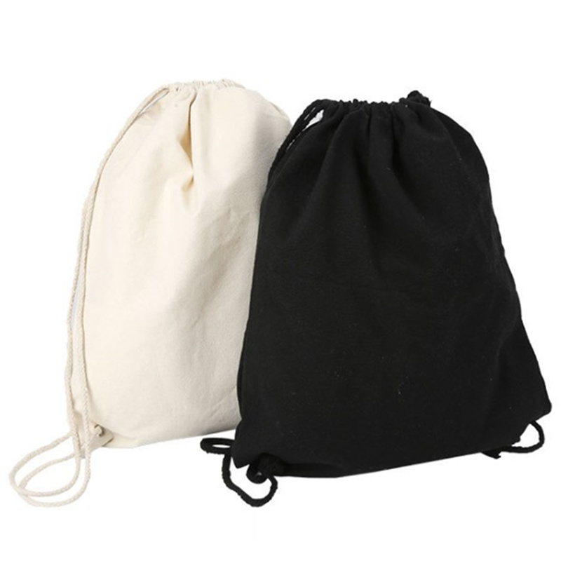 1PC Canvas bag shoulders drawstring bundle pockets custom creative shopping student backpack bag cotton Pouch