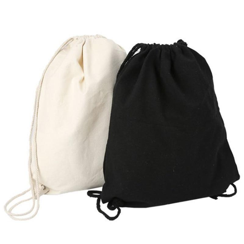 1PC Canvas Bag Shoulders Drawstring Bundle Pockets Custom Creative Shopping Student Backpack Bag Cotton Pouch