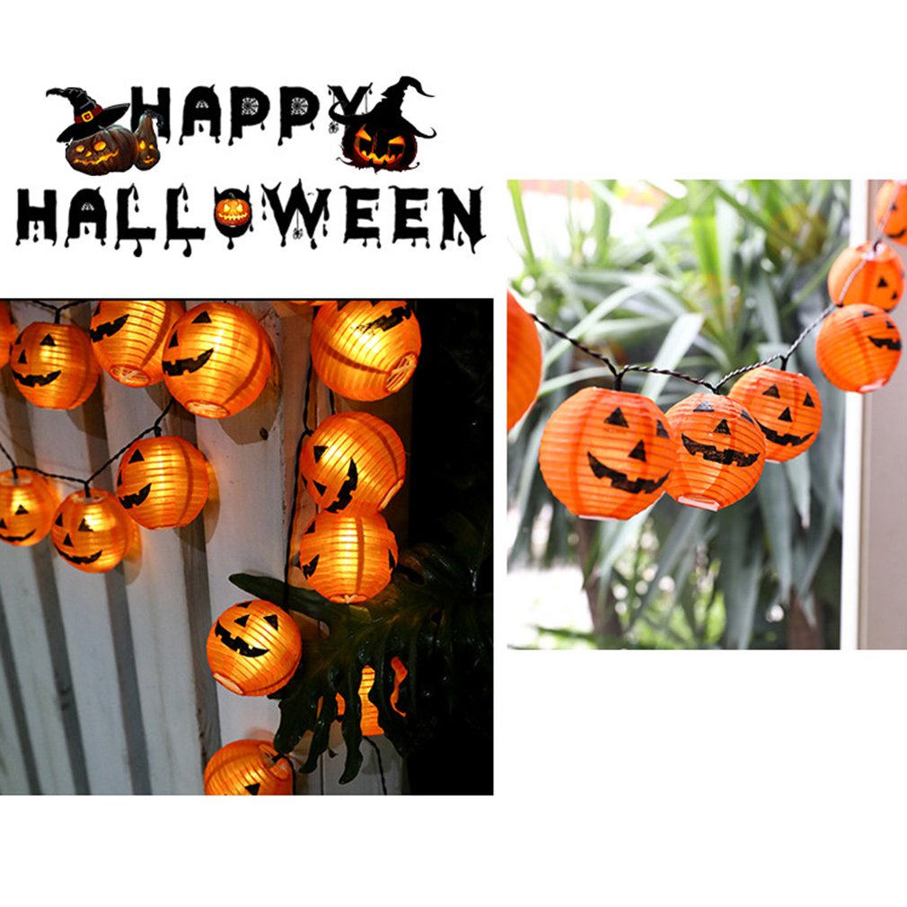 LED Halloween Pumpkin String Lights 3D Halloween Lantern Party Home DIY Decor Warm White Battery Operated Light