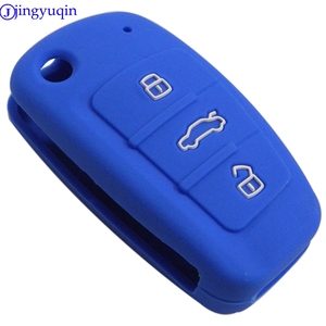 Image 2 - Jingyuqin housse pour clés de voiture à 3 boutons, en Silicone, housse pour clé de voiture, pour Audi A1, A3, Q3, Q7, R8, A6L, TT