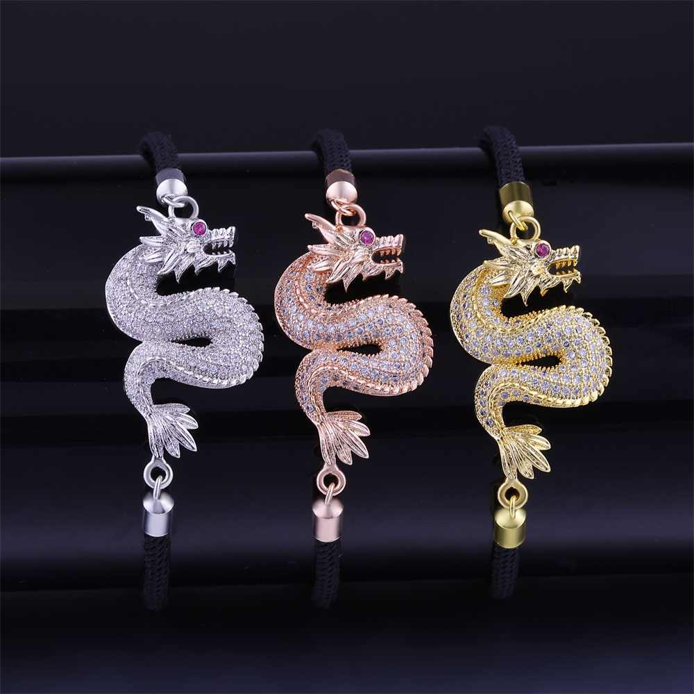 Juya Buatan Tangan Benang Merah Gelang Perlengkapan Emas//Mawar Emas Jimat Infinity Naga Pesona Gelang untuk Wanita Pria