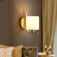 All copper LED wall lamp simple bedroom bedside wall lamp American style living room aisle lamp modern creative stair wall lamp