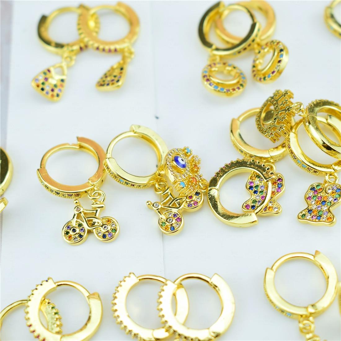 Lovely Cubic Zircon Earrings Biker Cute Tiny Bike Bicycle Stud Earrings for Women Gifts Crystal Ear Jewelry 2020 New Trend