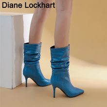 Sexy Stiletto Pleated high Boots Women Winter Thin High Heels Ladies Fall Pointed Toe Ankle Boots Woman Chic Night Club Shoes