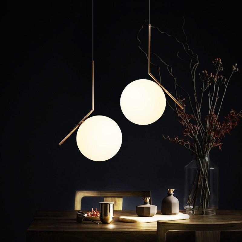 Современные светодиодные металлические подвесные светильники из кованого железа и стекла, круглый шар, латунный стержень, подвесной свети...