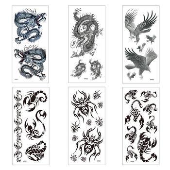 L 1 Pc Fashion Temporary Tattoo Sticker Cool Animal Art Arm Tattoo Fake Art Sticker Tattoo Body Sticker Body Design X0M3 new 1 piece temporary tattoo sticker mechanical design full flower tattoo with arm body art big large fake tattoo sticker