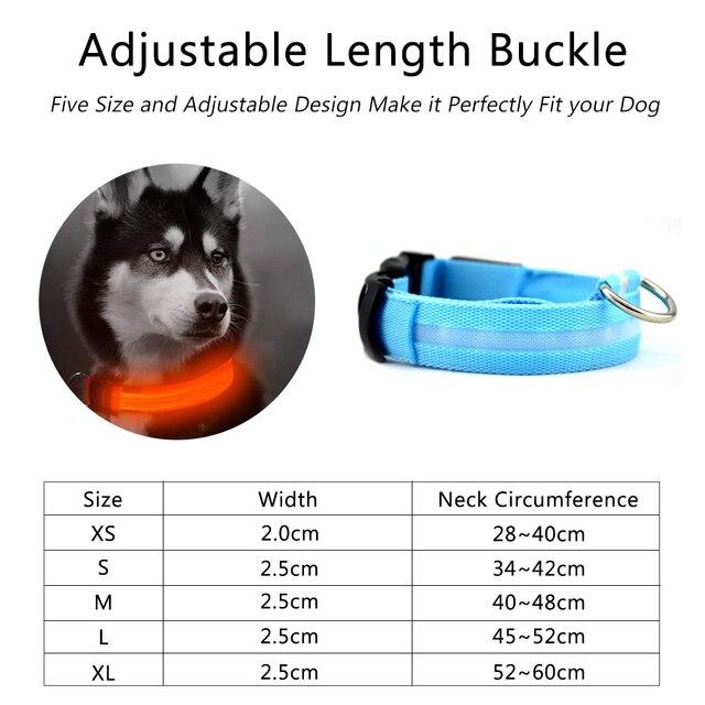 Nylon LED Pet dog Collar,Night Safety Flashing Glow In The Dark  2