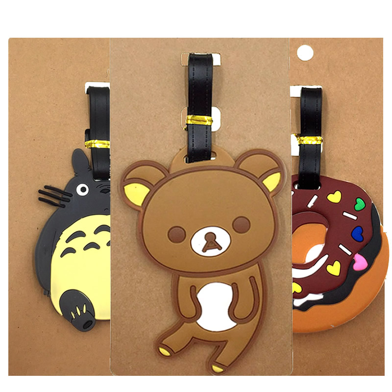 Cartoon Easy Bear Luggage Tags Travel Accessories Suitcase ID Addres Holder Silica Gel Baggage Boarding Women Portable Label