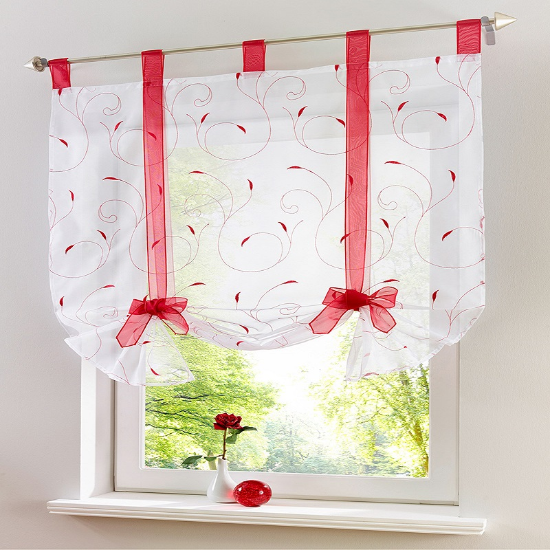 European Style Roman Ribbon Embroidered Curtains Adjustable Height For Kitchen Bedroom Balcony Shading Short Curtains Tulles