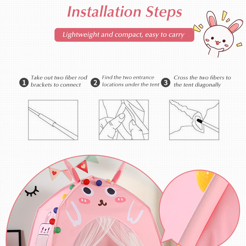 Baby Shining Baby Play House Play Tent Lights Playpen Tipi Play House 130cm with Window Pocket Cotton Mat Boy Girl Birthday Gift - 4