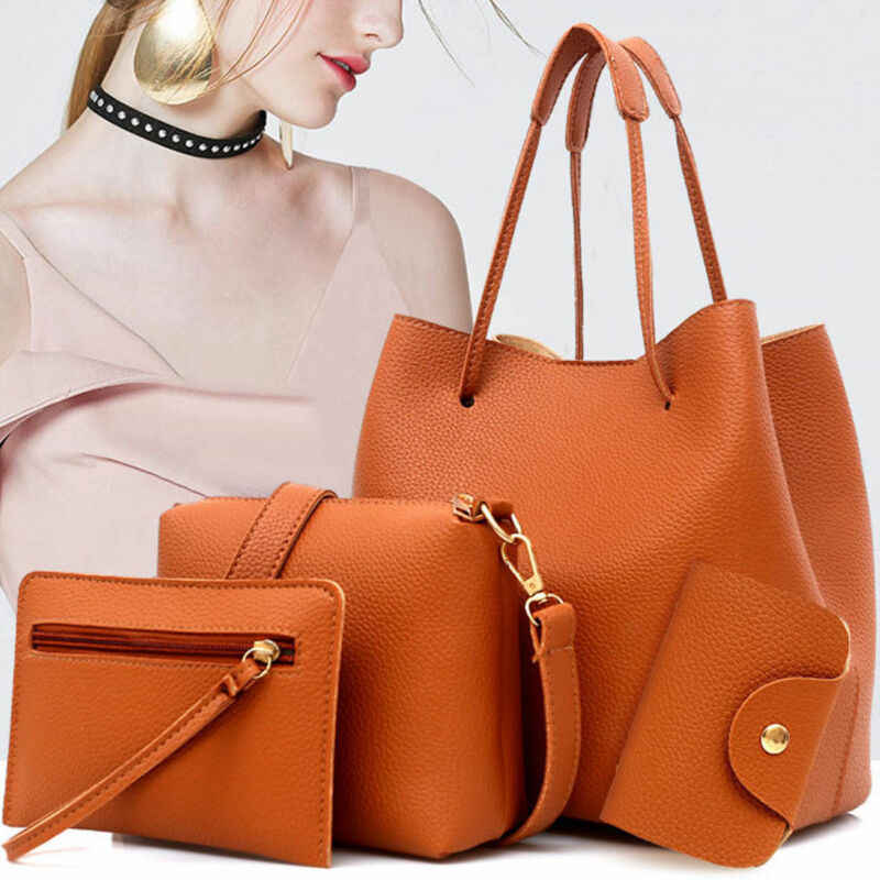 4PCS Nieuwe Vrouwen Dames Handtas Sets Lederen Schoudertas Totes Messenger Bag Purse Dames Tas Meisjes Hot Purse Bag crossbody Tassen