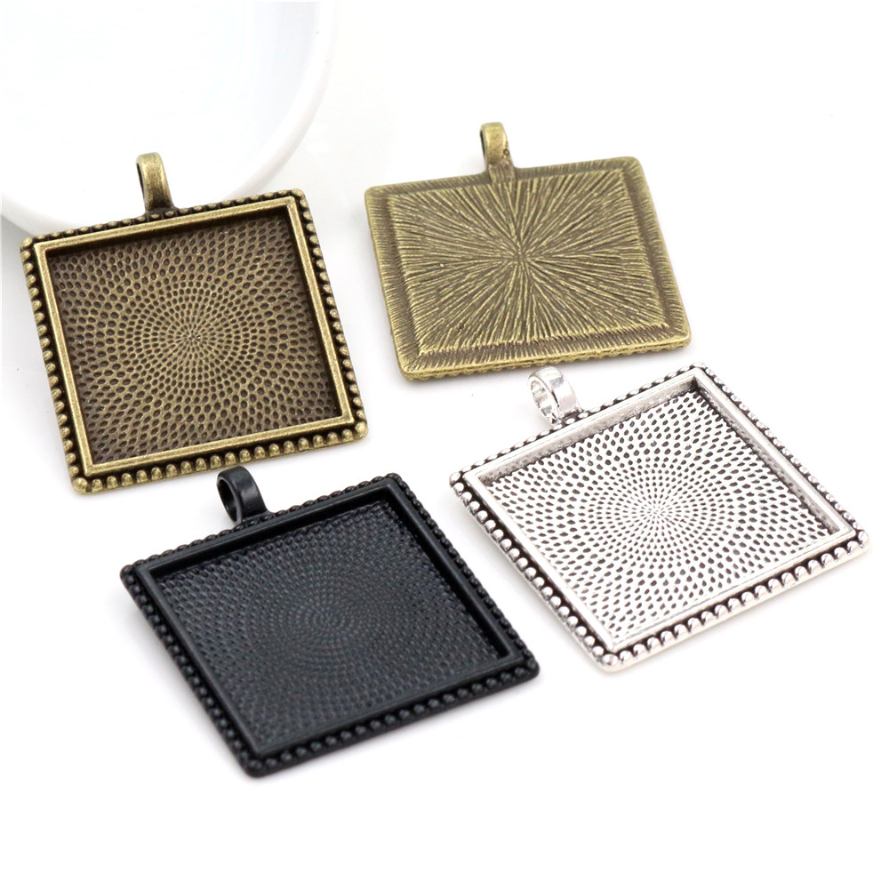New Fashion 5pcs 25mm Inner Size Antique Silver Plated And Black And Bronze Plated Square Cabochon Base Setting Charms Pendant