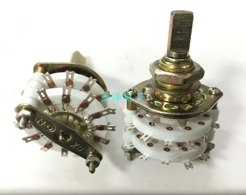 Faca de cerâmica dupla-camada banda interruptor rotativo 4 5 engrenagem eixo meia 20MM interruptor interruptor interruptor rotativo