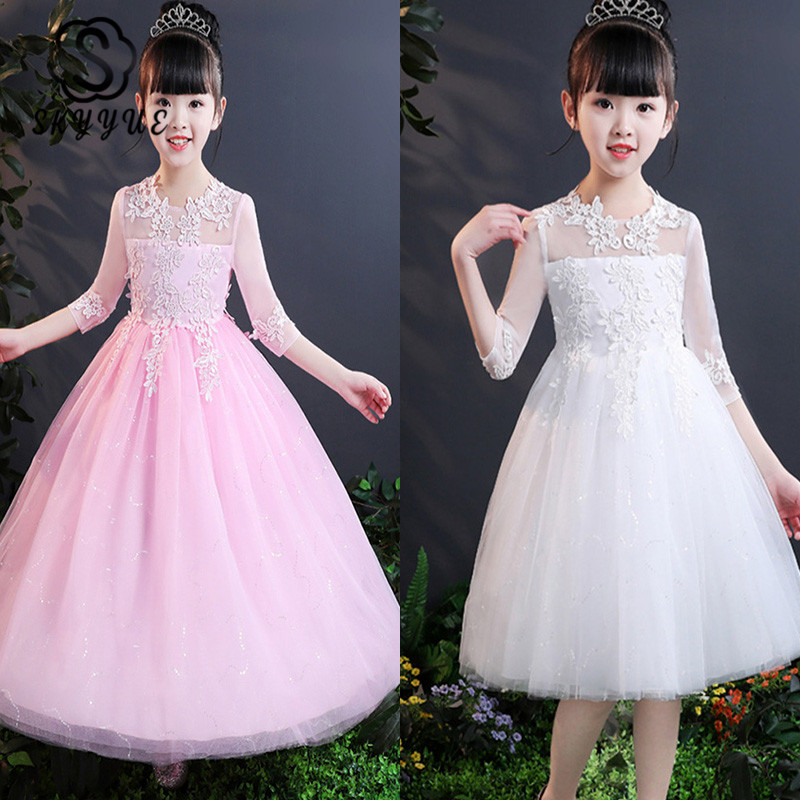 Skyyue Flower Girl Dress For Wedding Embroidery Short N Long Tulle Ball Gown Kid Party Communion Dresses White Pink 2019 2803
