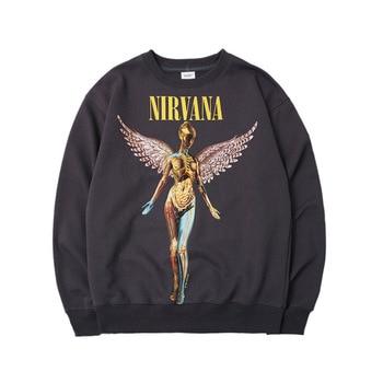 цена на Hot Sale Nirvana band sweatshirt Fashion print coat Kanye Angel sweatshirt