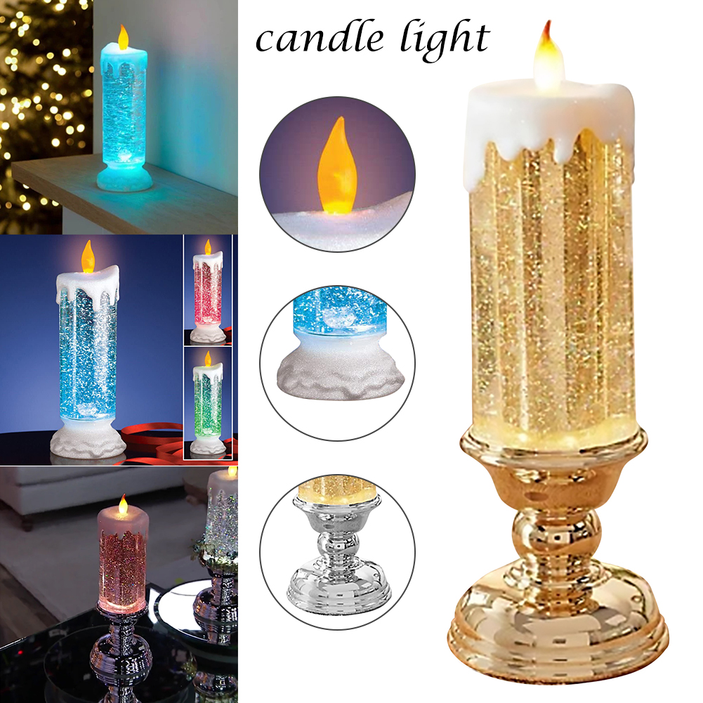 LED Glitter Christmas Candle