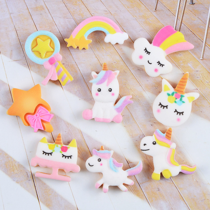 10Pcs Cartoon Unicorn Rainbow Biscuits Flatback Resin Cabochon Fake Food Crafts DIY Scrapbooking Hair Bows Phone Case Decoration
