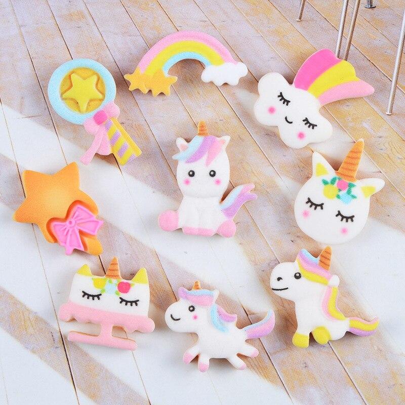 10Pcs Cartoon Unicorn Rainbow Biscuits Flatback Resin Cabochon Fake Food Crafts DIY Scrapbooking Hair Bows Phone Case Decoration