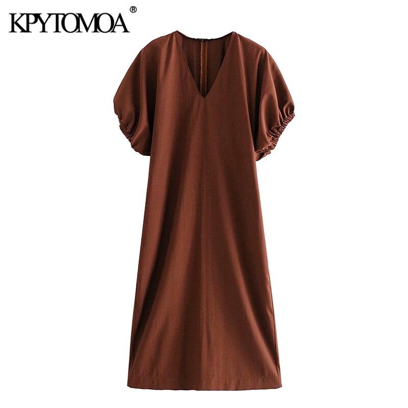 KPYTOMOA Women 2020 Chic Fashion Puff Sleeve Midi Dress Vintage V Neck Side Pockets Back Vents Female Dresses Vestidos Mujer