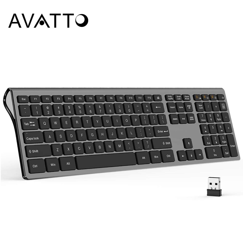 AVATTO 109 Keys Full Size 2.4G Wireless Keyboard , Ultra Slim Scissors Switch Keyboard For Windows Mac OS Laptop Desktop PC
