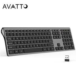 Klawisze AVATTO 109 pełny wymiar klawiatura bezprzewodowa 2.4G  Ultra cienki przełącznik nożyczek klawiatura dla Windows Mac OS Laptop pulpit PC