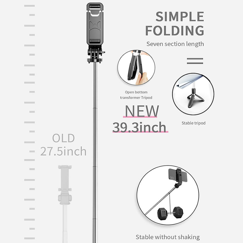 Wireless Bluetooth Selfie Stick Tripod Foldable Tripod Monopods Universal for SmartPhones for Gopro Sports Action Camera 6