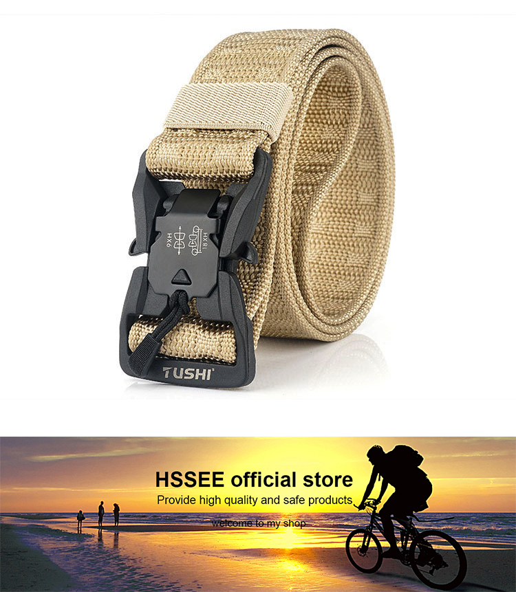 He5c6ac732212440d80a945c44748ad87Z - HSSEE Official Genuine Tactical Belt Hard ABS Quick Release Magnetic Buckle Military Belt Soft Real Nylon Sports Accessories