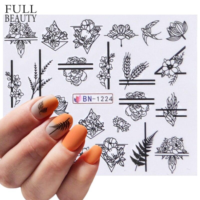 1pcs Flower Slider Nail Sticker Water Transfer Black Floral Leaf Decals Nail Art Tattoo Manicure Wraps Accessories CHBN1213-1224
