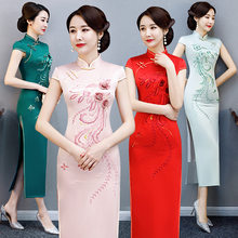 FZSLCYIYI ancienne robe traditionnelle chinoise Cheongsam Vintage femmes longue Qipao broderie robes de soirée robes Sexy(China)