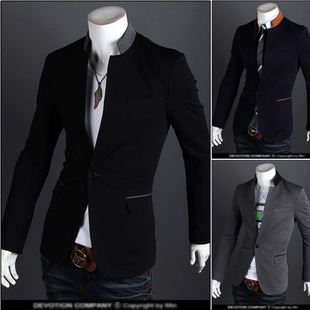 Men Spring New Style One-Button Casual Suit Men's Korean-style Slim Fit Stand Collar Solid Color Fashion Coat Fashion