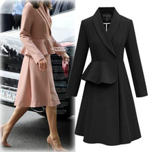 Women coat Office Lady womens tops and blouses female clothes 2020 spring long Turn-down Collar Skirt overcoat fashion new pink(China)
