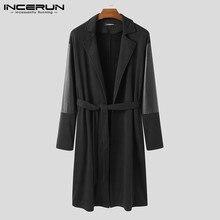 INCERUN Fashion Men Coats Streetwear Open Stitch PU Leather Patchwork Lapel Long Sleeve Trench Men Casual Windbreaker With Belt
