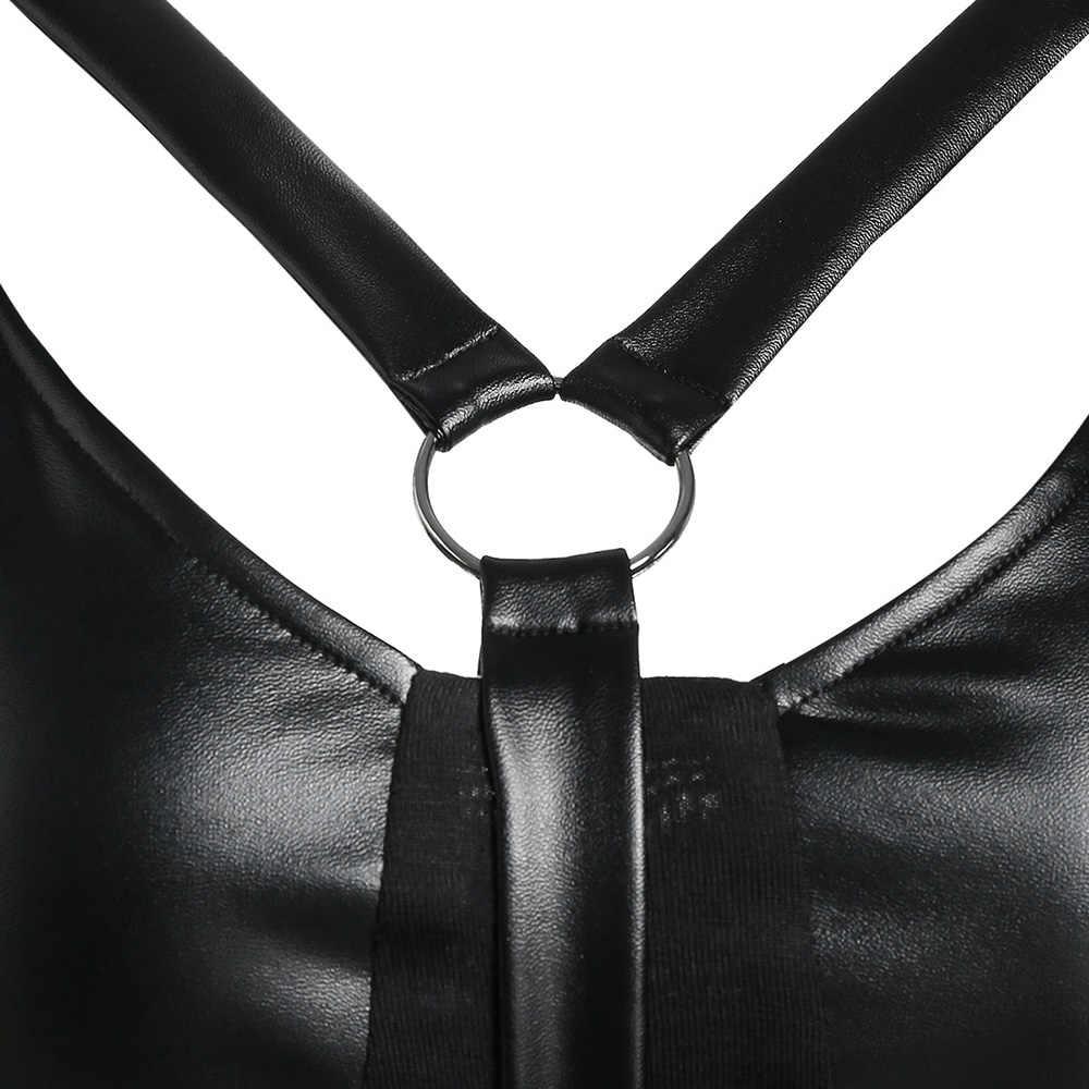 Wipalo Женская панель из искусственной кожи втулка носовой платок готическое платье Спагетти ремень подходит и расклешенное сексуальное вечернее платье vestidos Robe