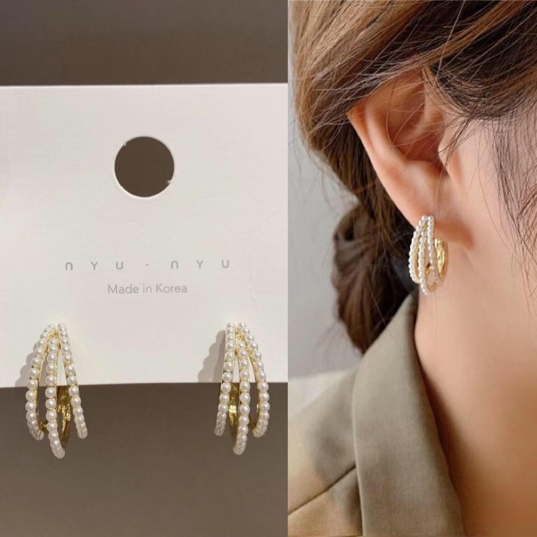 Pearl Earings Fashion Jewelry 2020 Accessories for Women Gift Round Stud Ear Rings Krean Femme Style Trendy Gold Metal Whosale