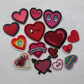 fashion mixed heart patches for clothing iron on embroidered appliques iron sew on clothes patches sewing accessories for DIY image