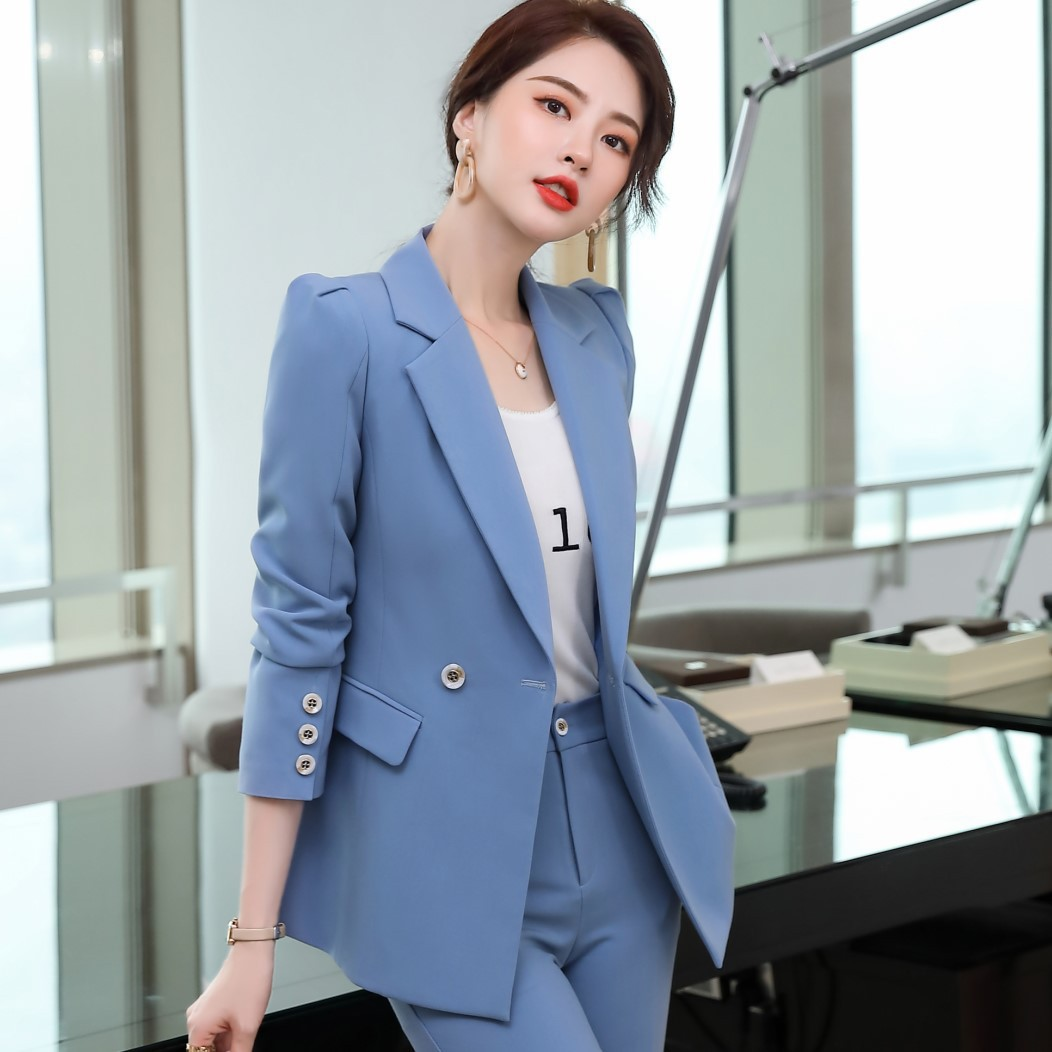 High quality autumn and winter professional women's pants suit two-piece 2020 new double breasted ladies jacket Casual trousers