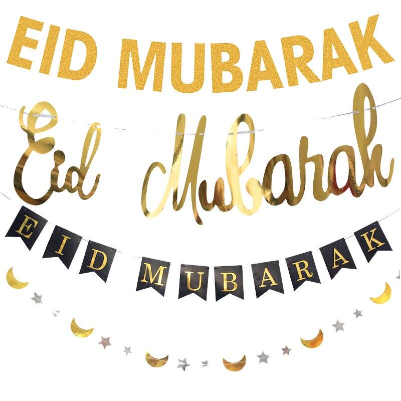 EID MUBARAK Banner Glitter EID Star Moon Letter Paper Bunting Garland Islamic Muslim Mubarak Ramadan Decoration Party Supplies